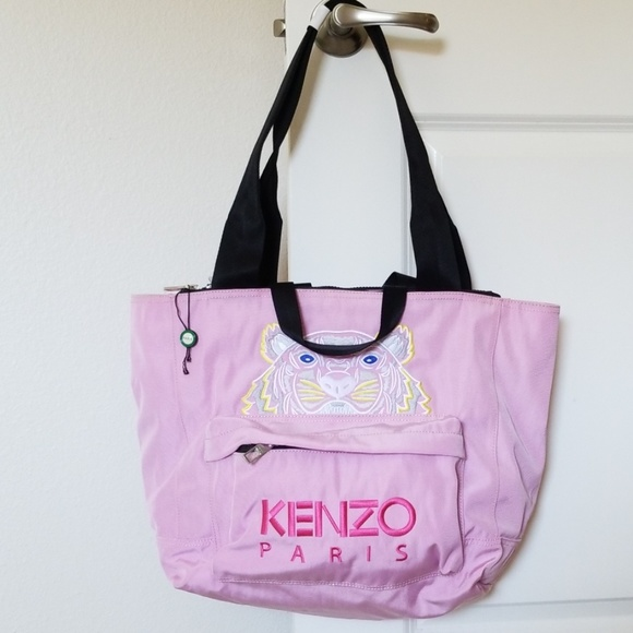 dbef93357f9 KENZO PARIS Tiger Nylon Pink Tote Bag NWT